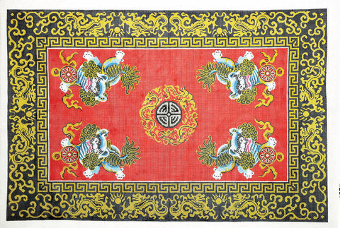 Rug~ Four Foo Lions & Medallion Oriental Rug Handpainted by LEE Needle Art
