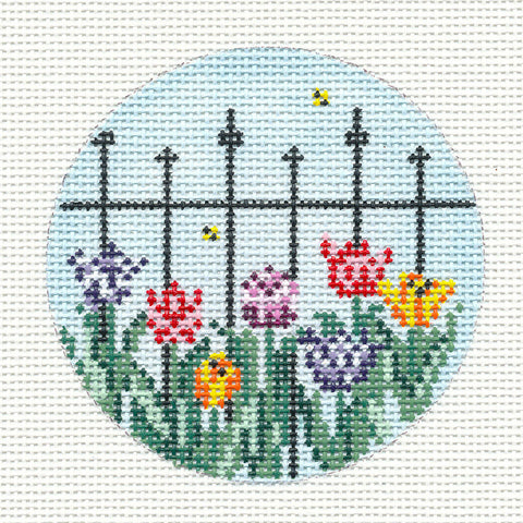 "Round~3"" Wrought Iron Fence & Tulips handpainted Needlepoint Canvas~by Needle Crossings"