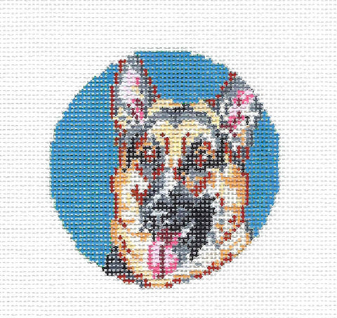 "Beautiful German Shepherd Dog on a Blue Background 3"" Round by Needle Crossings"