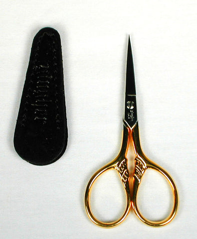 Gingher Gold Plated ~ Lion's Tail ~ Embroidery Scissors & Leather Sheath