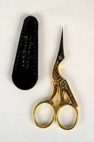 Gingher Gold Handled Stork Scissors with Leather Sheath