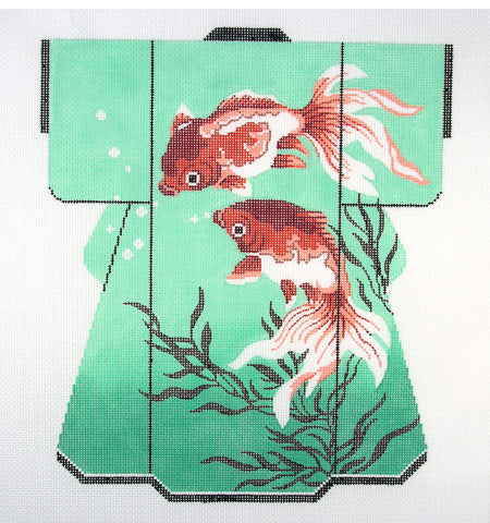 Kimono~LEE Oriental Koi Gold Fish on Green LG. Kimono handpainted Needlepoint Canvas