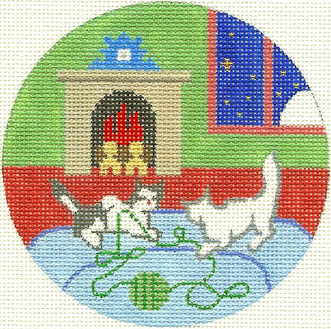 "Round~4.25"" Goodnight Moon 2 Kittens Playing handpainted Needlepoint Canvas~by Silver Needle"