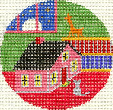 "Round~4.25"" Goodnight Moon Mouse & House handpainted Needlepoint Canvas~by Silver Needle"