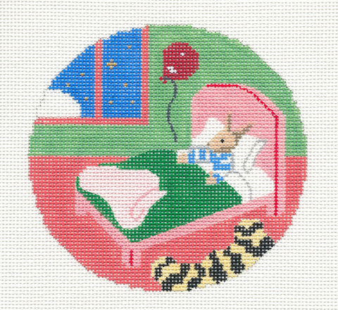 "Round~4.25"" Goodnight Moon Bunny in Bed with Balloon handpainted Needlepoint Canvas~by Silver Needle"