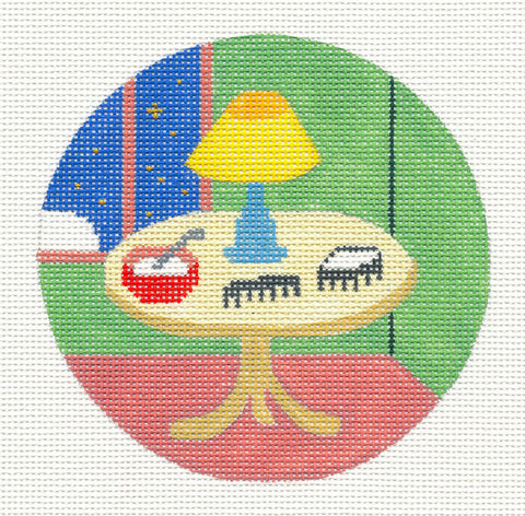 "Round~4.25"" Goodnight Moon Comb & Brush handpainted Needlepoint Canvas~by Silver Needle"