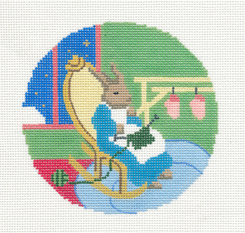 "Round~4.25"" Goodnight Moon Grandma Bunny Knitting handpainted Needlepoint Canvas~by Silver Needle"