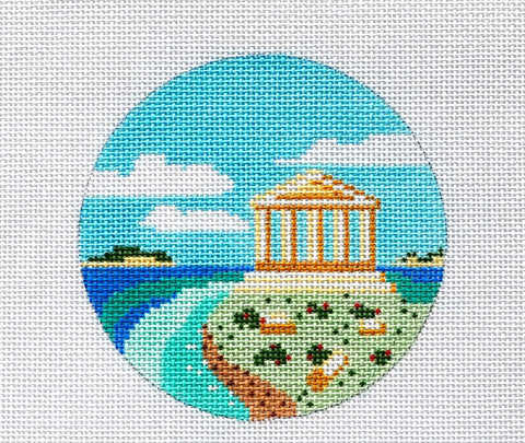 "Round~4"" Greece~Destination handpainted Needlepoint Canvas~by Painted Pony  **MAY NEED TO BE SPECIAL ORDERED**"