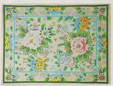 Rug~Floral Garden with Peony Blossoms Handpainted by Lee Needle Art ~ 10 Mesh