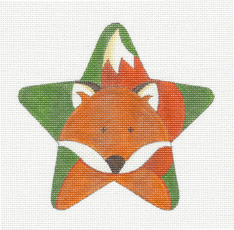 Animal STAR ~ RED FOX Star handpainted Needlepoint Canvas by Raymond Crawford