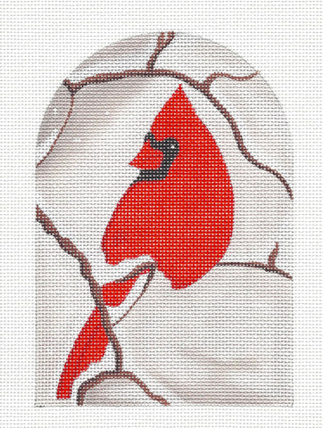 Canvas~Red Cardinal handpainted Needlepoint Canvas by Raymond Crawford **SPECIAL ORDER**