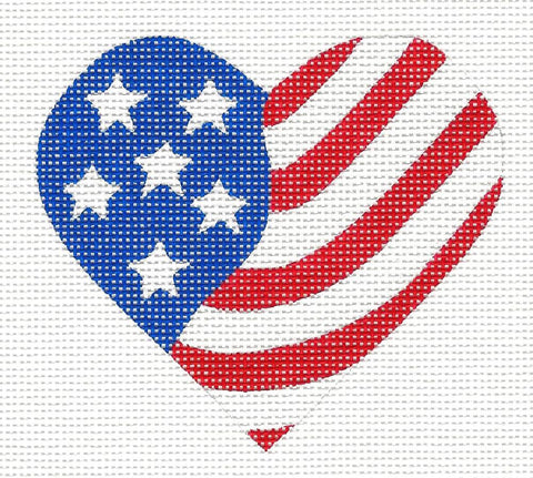 Heart~Patriotic Heart Flag-18 Mesh handpainted Needlepoint Canvas~by Pepperberry
