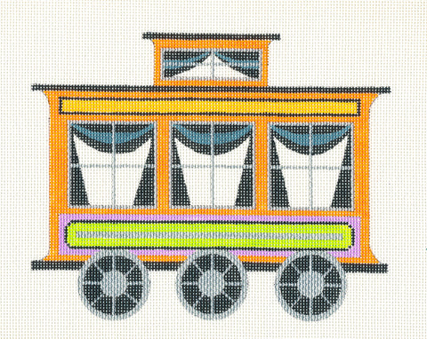 Halloween~Train Car handpainted Needlepoint Canvas by Raymond Crawford