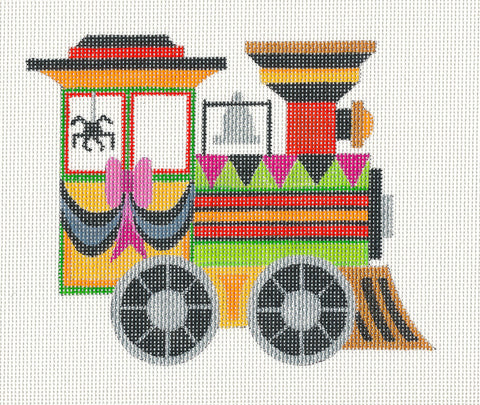 Halloween~Train Engine handpainted Needlepoint Canvas by Raymond Crawford