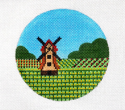 "Round~4"" Holland~ Destination round handpainted Needlepoint Canvas~by Painted Pony"