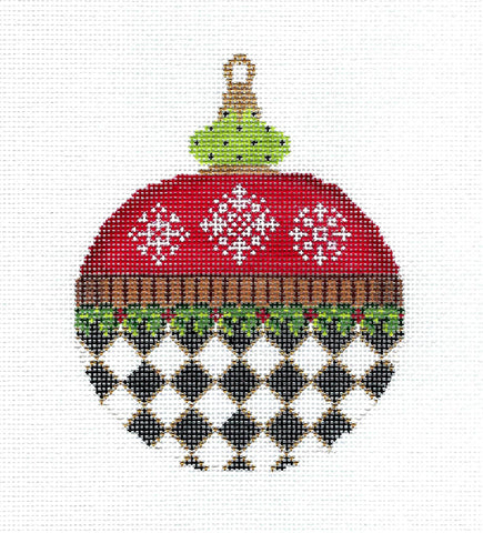 Christmas ~ Holly and Snowflakes Red & B & W Checks Ornament handpainted Needlepoint Canvas by Kelly Clark