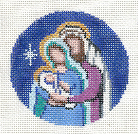 "Round~Holy Family Christmas Nativity handpainted Needlepoint Canvas 3"" Rd. by LEE"