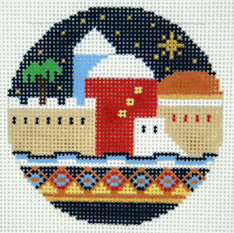 "Round~LEE Holiday HOLY CITY of JERUSALEM handpainted 3"" Rd. Needlepoint Canvas"