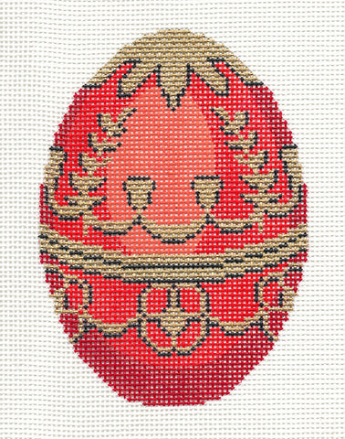 Faberge LEE Jeweled Vermilion EGG handpainted HP Needlepoint Canvas Ornament