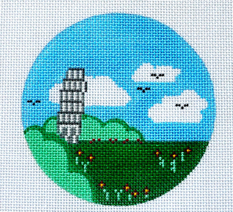 "Round~4"" Italy~ Destination round handpainted Needlepoint Canvas~by Painted Pony  **MAY NEED TO BE SPECIAL ORDERED**"