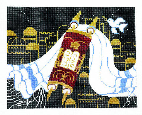 Canvas~Tallis Bag with Torah and Tallit on Black handpainted Needlepoint Canvas