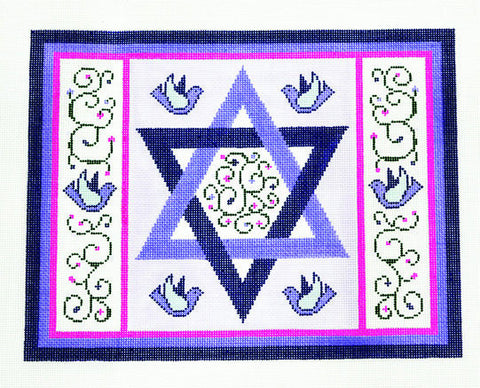 Canvas~Tallis Bag with Star of David and Doves handpainted Needlepoint Canvas