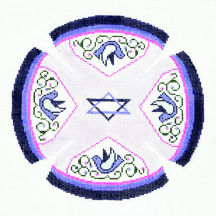 Yarmulke with Star of David and Doves handpainted Needlepoint Canvas