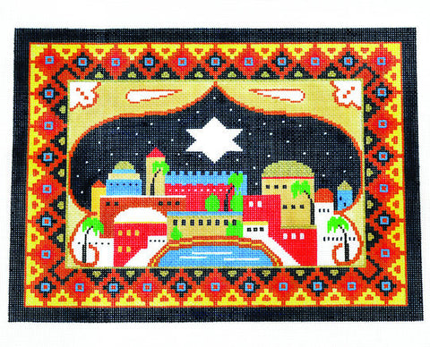 Canvas~Tallis Bag with Jerusalem on a Starry Night handpainted Needlepoint Canvas
