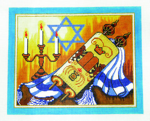 Canvas~Tallis Bag with Torah Tallit and Menorah on Blue handpainted Needlepoint Canvas