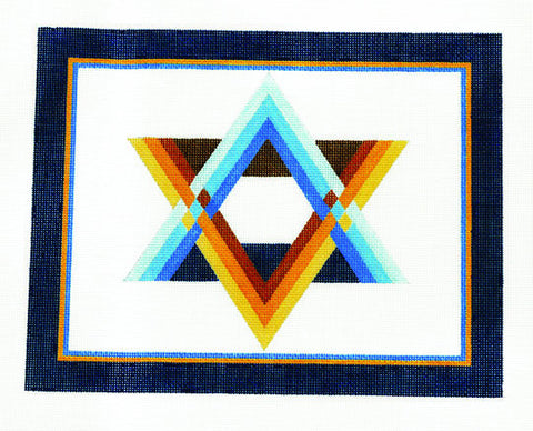 Canvas~Tallis Bag with Striped Star of David on White handpainted Needlepoint Canvas