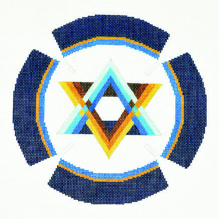Yarmulke with Striped Star of David on White handpainted Needlepoint Canvas