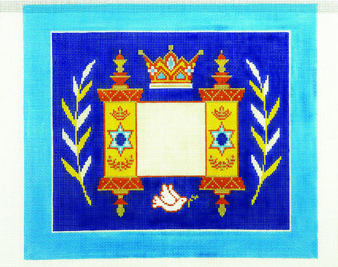 Canvas~Tallis Bag with Torah Crown and Dove on Blue handpainted Needlepoint Canvas