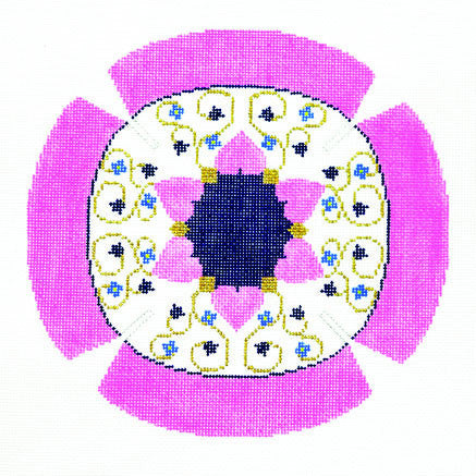 Yarmulke with Floral Star of David Design handpainted Needlepoint Canvas