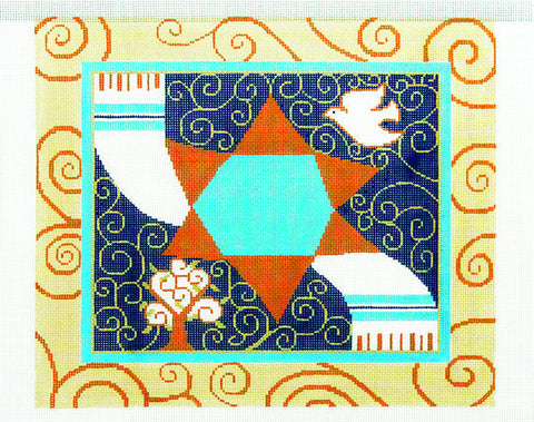 Canvas~Tallis Bag with Blue and Gold Star of David and Tallit handpainted Needlepoint Canvas
