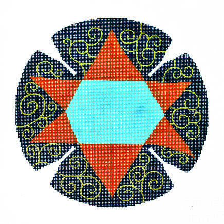 Yarmulke with Blue and Gold Star of David handpainted Needlepoint Canvas