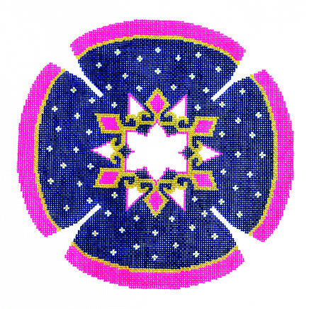 Yarmulke with Star of David and Stars handpainted Needlepoint Canvas