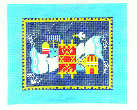 Canvas~Tallis Bag with Torah Candles and Tallit handpainted Needlepoint Canvas