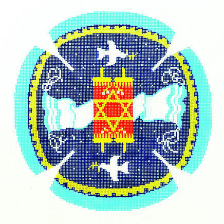 Yarmulke with Torah Tallit and Doves on Blue handpainted Needlepoint Canvas