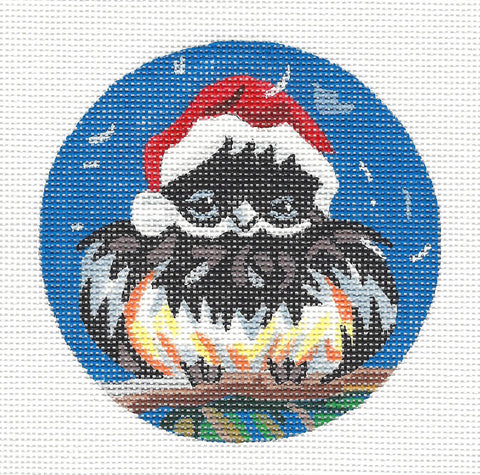 Round~Chickadee in Santa Hat Ornament on Hand Painted Needlepoint Canvas by JulieMar