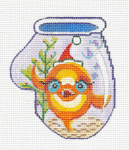 Mitten~Goldfish Ornament on Hand Painted Needlepoint Canvas by JulieMar