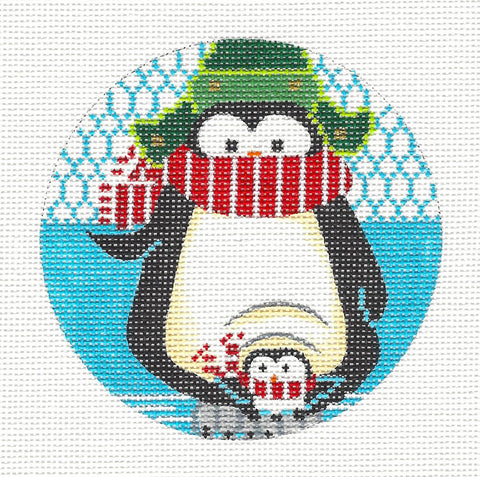 Round~ Holiday Penguin Mom & Chick Ornament on Hand Painted Needlepoint Canvas by JulieMar