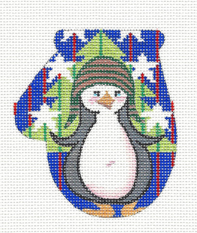 Mitten~Patriotic Penguin with S/G on Hand Painted Needlepoint Canvas by JulieMar