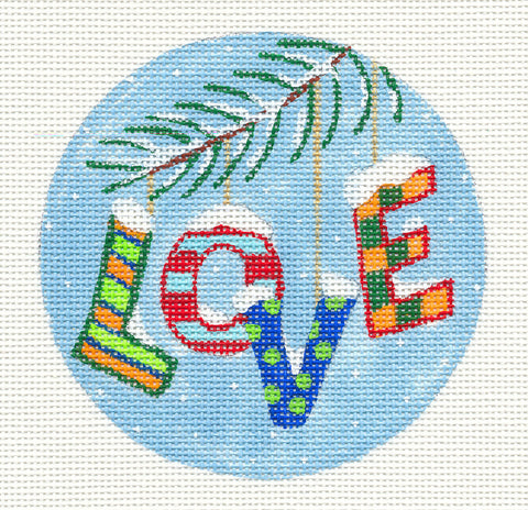 Round~Christmas Love Ornament on Hand Painted Needlepoint Canvas by JulieMar