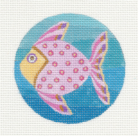 Round~Pink Fish Ornament on Hand Painted Needlepoint Canvas by JulieMar