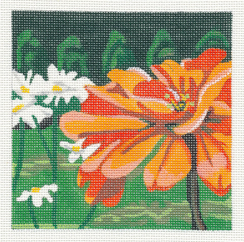 Canvas~Zinnia And Daisies on Hand Painted Needlepoint Canvas by JulieMar