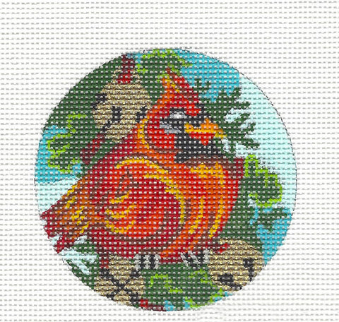Round~Cardinal Ornament on Hand Painted Needlepoint Canvas by JulieMar
