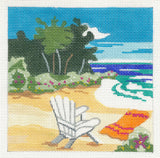 Canvas~Serene Beach Day with S/G on Hand Painted Needlepoint Canvas by JulieMar***SPECIAL ORDER***