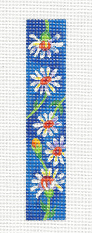 Bookmark~ Daisy Bookmark or Cuff on Hand Painted Needlepoint Canvas by JulieMar