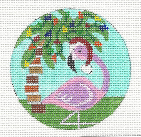 Round~Flamingo With Palm Tree Ornament on Hand Painted Needlepoint Canvas by JulieMar