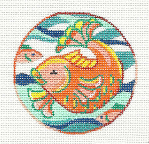 Round~Koi Fish Ornament handpainted Needlepoint Canvas by JulieMar